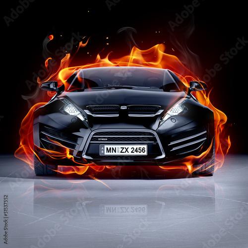 Fototapeta premium Samochód strażacki na lodzie. Brandless sportowy samochód.