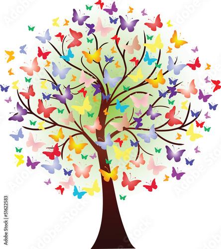 Fototapeta premium Wektor piękne wiosenne drzewo, składające się z motyli
