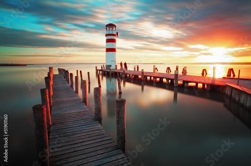 Canvas Print Lighthouse - Lake in Austria