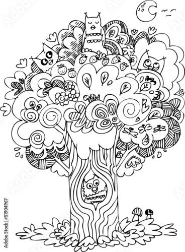 Śmieszne drzewo z uroczymi wycie