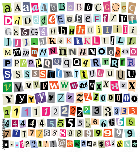 Obraz na plátně Vector Ransom Note- Cut Paper Letters, Numbers, Symbols
