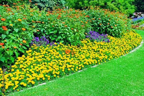 Obraz na płótnie Beautiful flowerbed in summer park