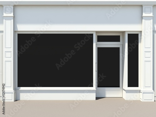 Obraz na płótnie Shopfront with large windows. White store facade.