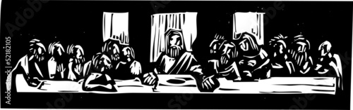 Valokuva Last Supper Woodcut