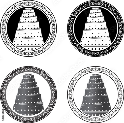 Canvastavla Set of towers of babel