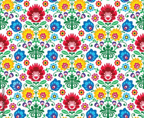 Seamless floral polish pattern - ethnic background