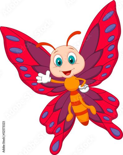 Cute butterfly cartoon waving #52573323