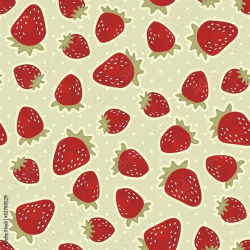 Fototapeta premium czerwone truskawki nieskończony deseń na retro tle w kropki