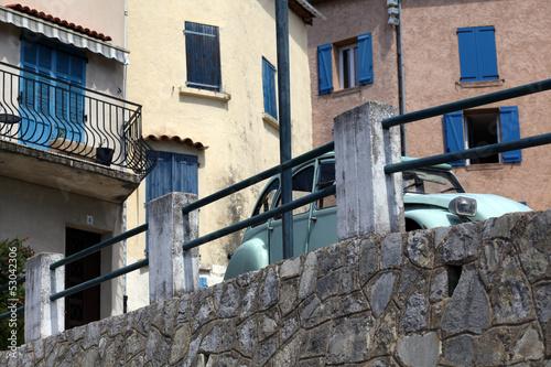 Slika na platnu Classic french car. Classic french mountain village. Callas.