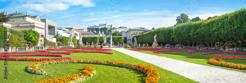 Panoramic view of famous Mirabell Gardens in Salzburg, Austria #53059166