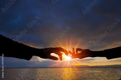 手と手 Fotobehang