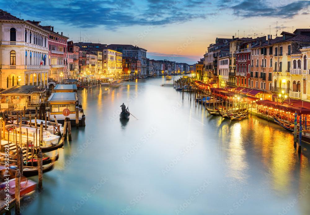 Grand Canal at night, Venice - obrazy, fototapety, plakaty