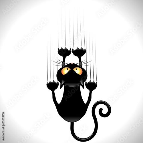 Cat Cartoon Scratching Wall-Gatto nero Graffia Muro #53695100