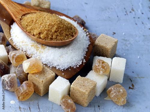 Fototapeta Various kinds of sugar, brown, white and refined sugar