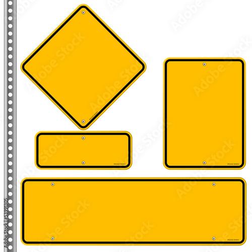 Photo Yellow Roadsigns Set