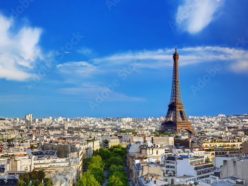 Rooftop view on the Eiffel Tower, Paris, France #54054787