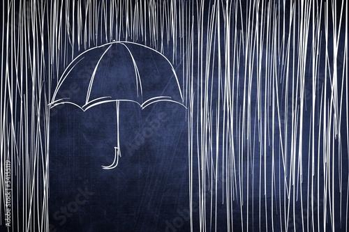 Obraz na płótnie Umbrella and rain, conceptual sketch on chalkboard