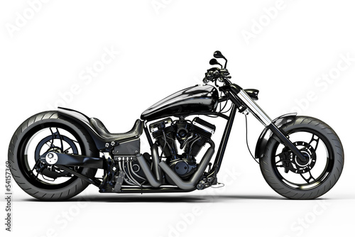 Vászonkép Custom black motorcycle side view on a white background