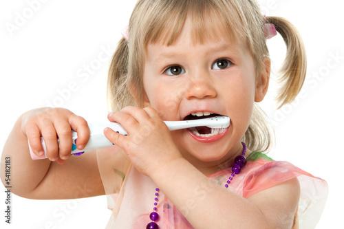 Close up portrait of cute girl brushing teeth. #54182183