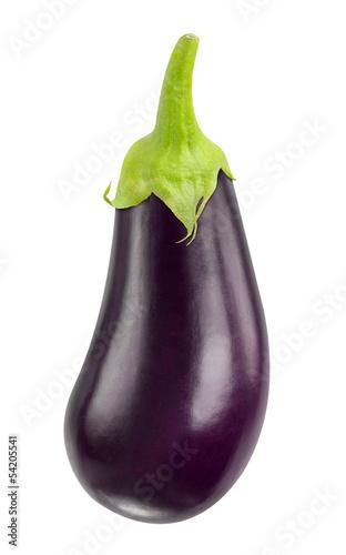 Isolated eggplant. One fresh eggplant with stem isolated on white background