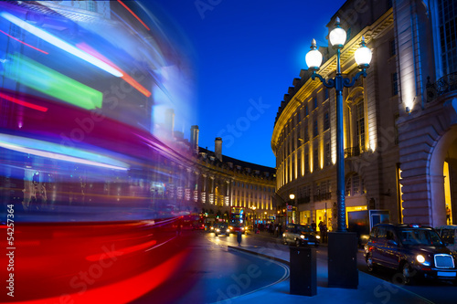 Art double-decker. Piccadilly Circus in London by night фототапет