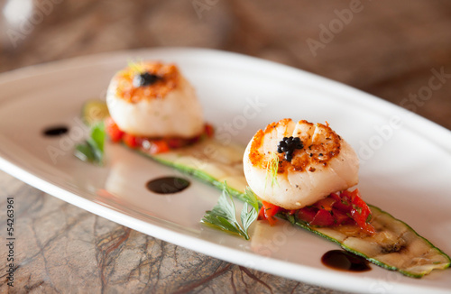 Canvas Print Grilled scallops with zucchini.
