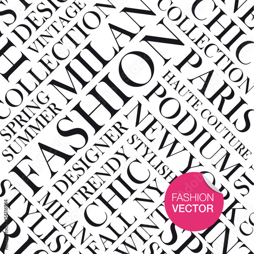 Fototapeta Fashion vector background, words cloud.