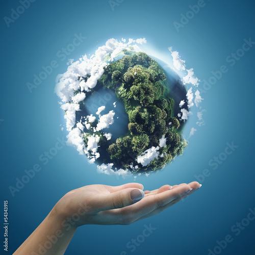 Obraz na płótnie Planet earth in hands