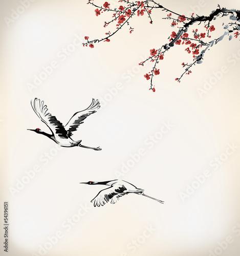 Plakat Sztuka malowania atramentem - Wiśnia i żuraw