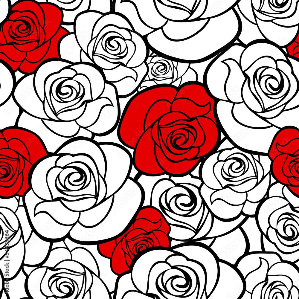 Wzór z konturów róż. Ilustracji wektorowych. <span>plik: #54438364 | autor: naddya</span>