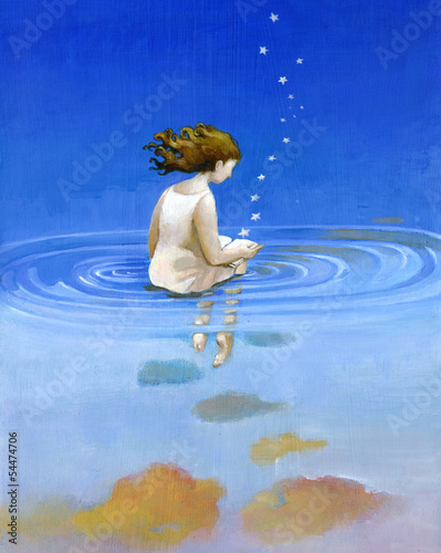 girl reading on the water surreal illustration