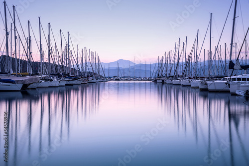 Canvastavla Yacht harbor in sunset