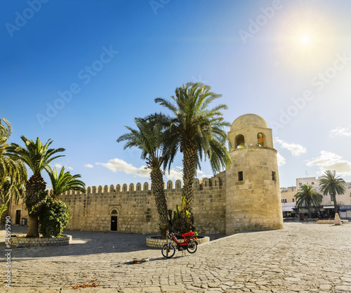 A large mosque in the town of Sousse in Tunisia against the back