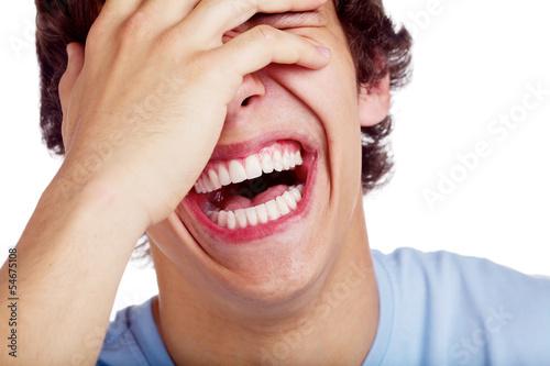 Obraz na plátně Laughing guy closeup