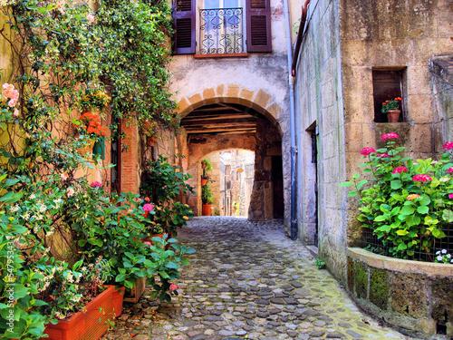 Fototapeta premium Łukowata brukowiec ulica w toskańskiej wiosce, Włochy