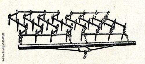 Obraz na plátně Horse-drawn harrow