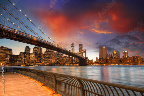 Brooklyn Bridge Park, New York City. Spectacular sunset view of