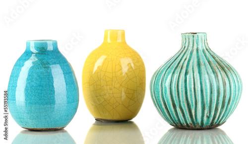 Fényképezés Decorative ceramic vases isolated on white