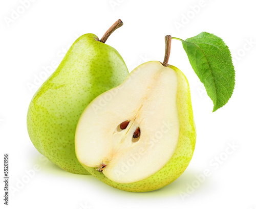 Isolated pears. One and a half yellow and green pear fruits isolated on white background