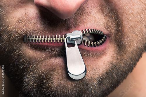 Zipped mouth Fototapeta