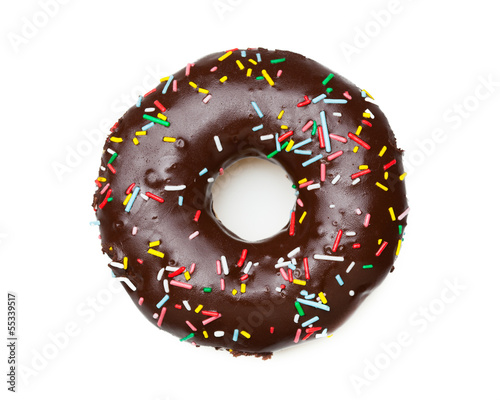 tasty chocolate donut, isolated on white фототапет