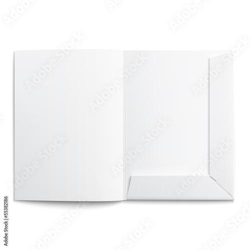 Leinwand Poster White empty open folder.