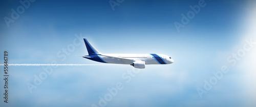 Canvas Print Airplane flight widescreen