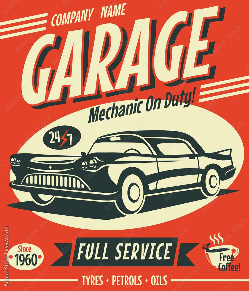 Znak retro samochodów. Ilustracji wektorowych. <span>plik: #55742701   autor: laralova</span>