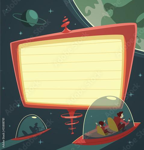Retro-futuristic billboard in outer space