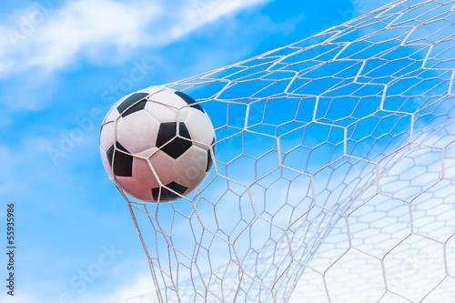 soccer ball in goal net