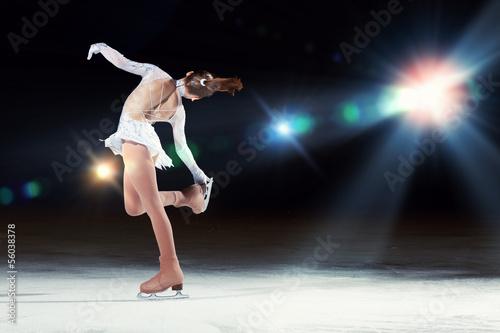 Fotografie, Obraz Little girl figure skating