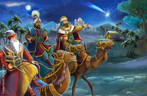 Obraz na płótnie Illustration of the holy family and three kings