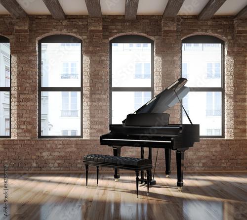 Fototapeta premium Vintage romantyczny loft wnętrze, z czarnym fortepianem