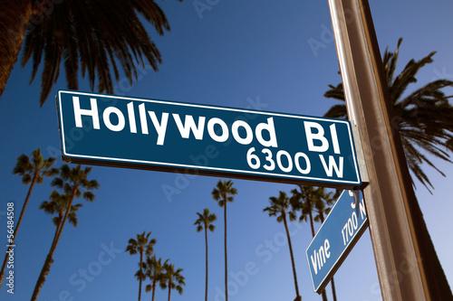 Fototapeta Hollywood Boulevard with  sign illustration on palm trees